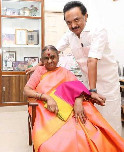 M. K. Stalin with his mother Dayalu Ammal