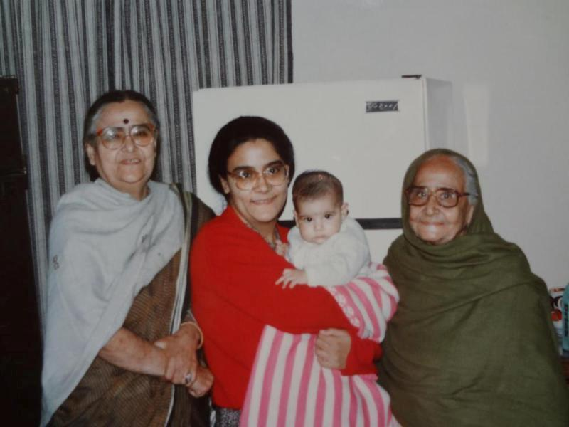 Namita Bhattacharya with her daughter, her mother and her maternal grandmother