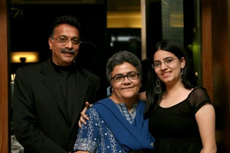Namita Bhattacharya with her husband and daughter