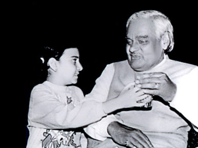 Namita in her childhood with Atal Bihari Vajpayee
