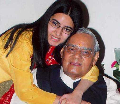 Niharika Bhattacharya with her grandfather Atal Bihari Vajpayee