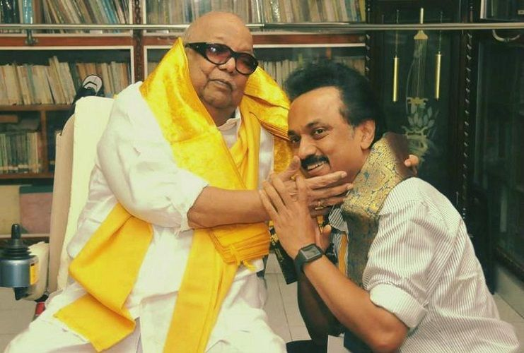 Rajathi Ammal step son M.K Stalin with her husband M. Karunanidhi