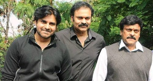 Ram Charan Father and Uncles Pawan Kalyan (left) and Nagendra Babu (centre)