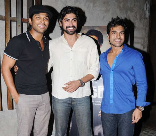 Ram Charan with Rana Daggubati and Allu Arjun
