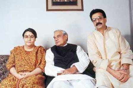 Ranjan Bhattacharya With His Wife Namita Bhattacharya and Atal Bihari Vajpayee