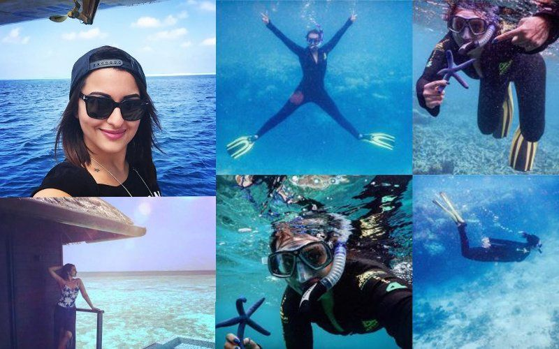 Sonakshi Sinha doing deep sea diving