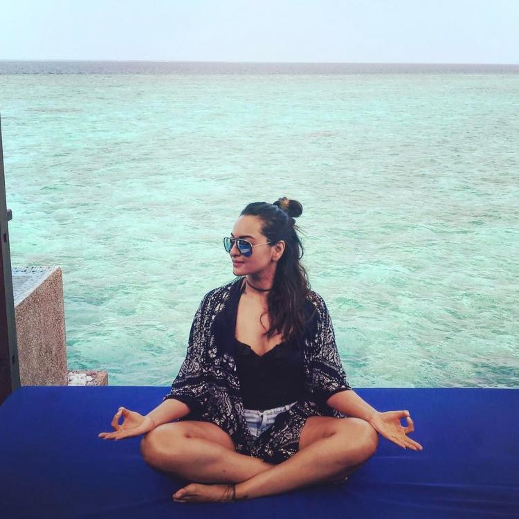 Sonakshi Sinha doing yoga