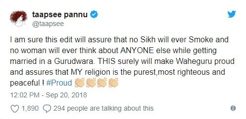 Taapsee Pannu's tweet after Manmarziyaan movie controversy