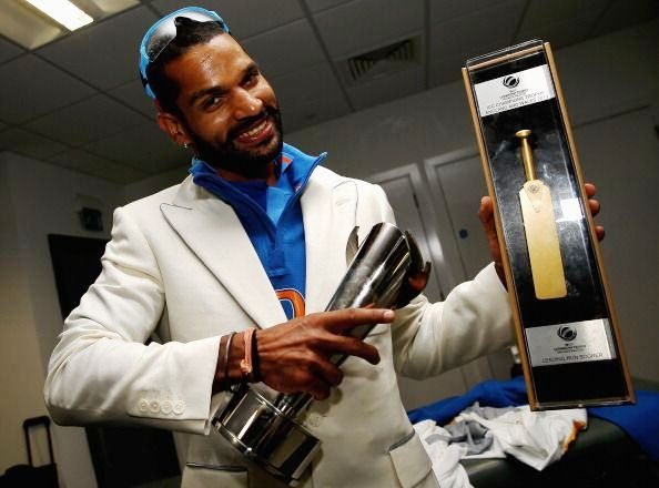 Shikhar Dhawan receiving Golden Bat