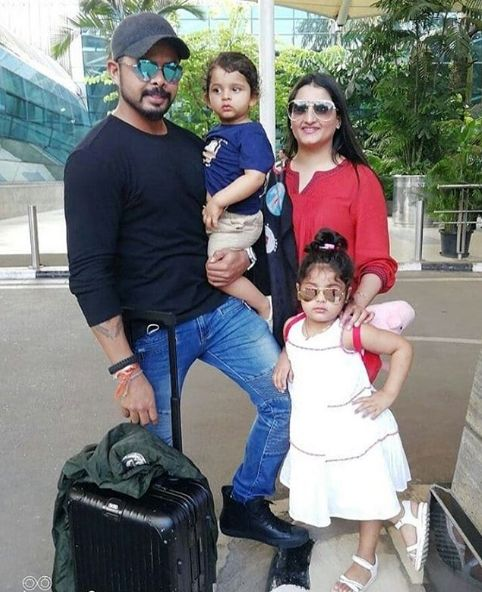 Sreesanth with his wife and children