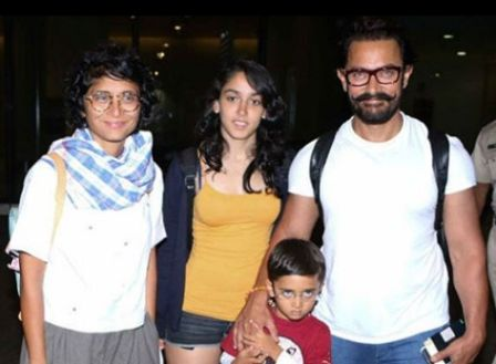 Aamir Khan With His Wife, Daughter; Ira Khan, and Son; Azad Khan