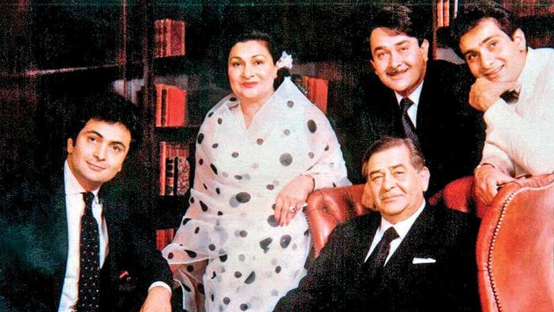 Krishna Kapoor with her husband and sons
