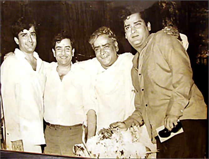 Prithviraj Kapoor (Second from the right) with his three sons