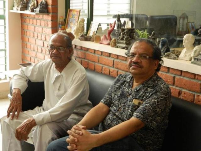 Ram Sutar (left) with his son Anil (right)