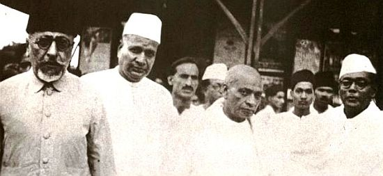 Sardar Patel with Maulana Abul Kalam Azad (extreme left) and Subhas Chandra Bose (Extreme Right)