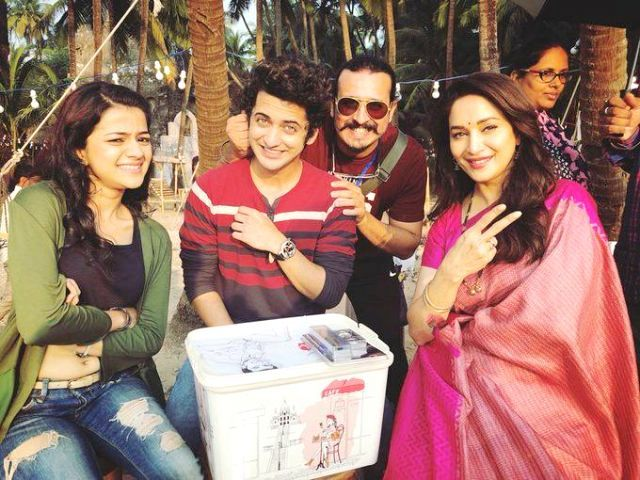 Sumedh Mudgalkar with Madhuri Dixit during the making of Bucket List
