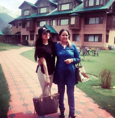 Yuvika Chaudhary in Jammu & Kashmir with her Mother