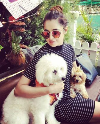 Yuvika Chaudhary with her Dogs