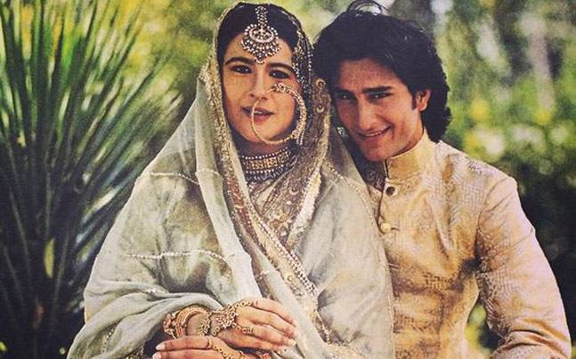 Amrita Singh with Saif Ali Khan at the time of their marriage