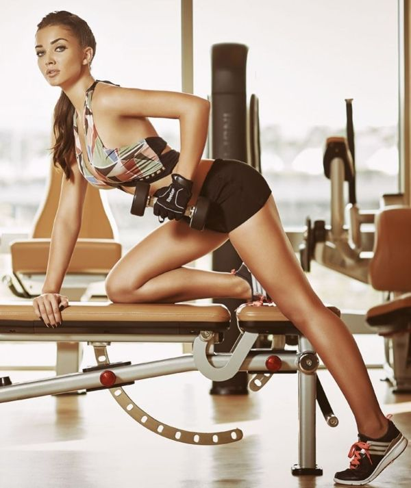 Amy Jackson at a gym
