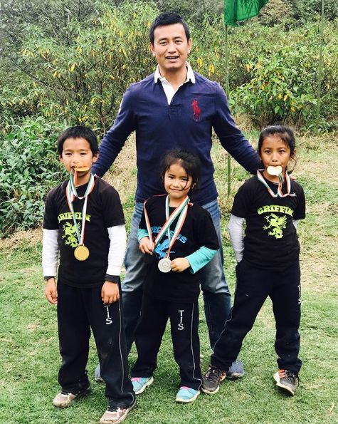 Bhaichung Bhutia with his children