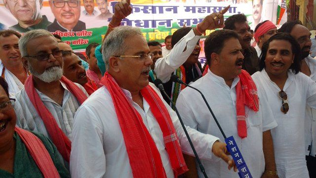 Bhupesh Baghel addressing the public for the 2018 Assembly Election