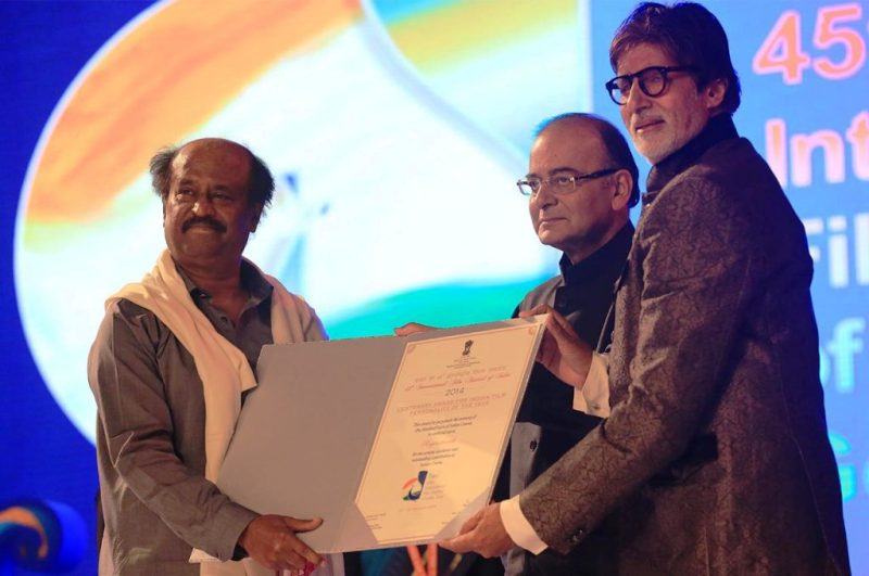 Rajinikanth receiving Indian Film Personality of the Year award