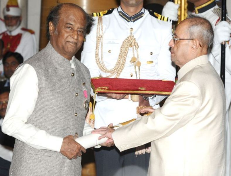 Rajinikanth receiving Padma Vibhushan