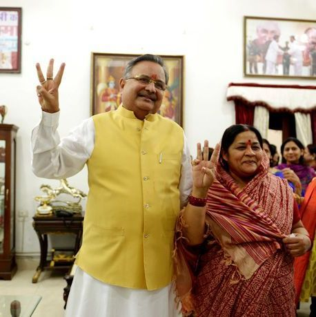Raman Singh with his wife