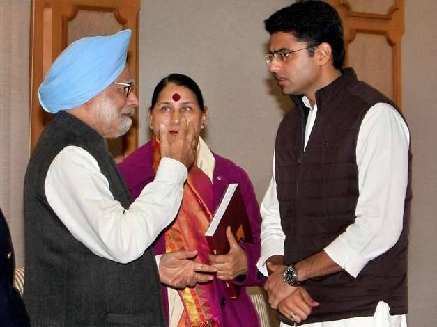 Sachin Pilot with the former Prime Minister Manmohan Singh