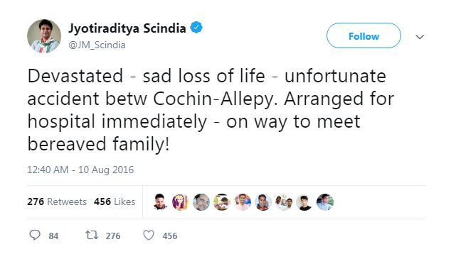 Scindia tweets over a death of a person
