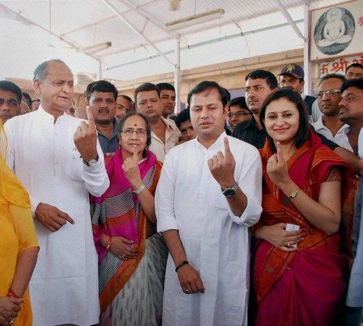 Ashok Gehlot with his wife, son, and daughter-in-law