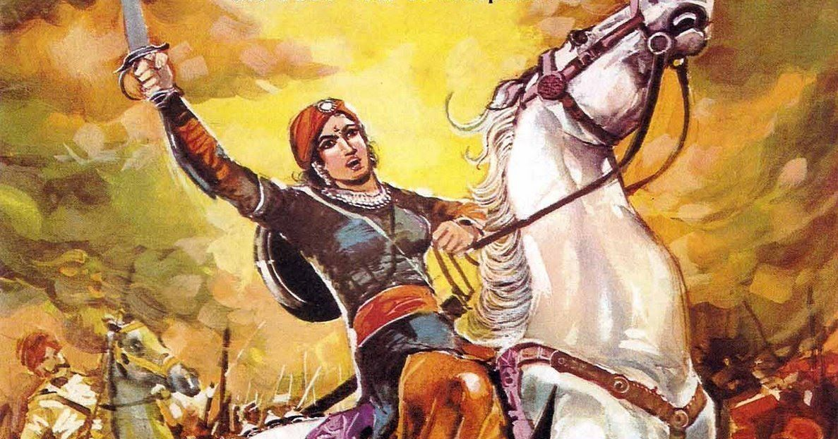 A painting of Rani Lakshmibai in the Battlefield.