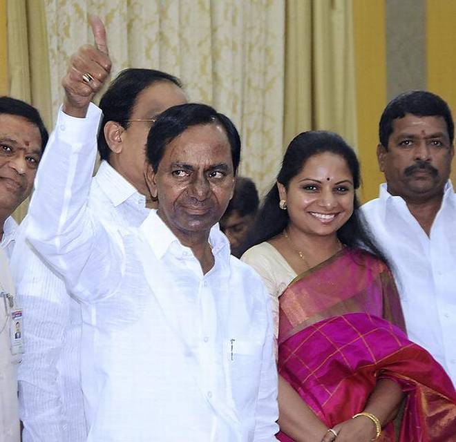 KCR with his daughter Kavitha