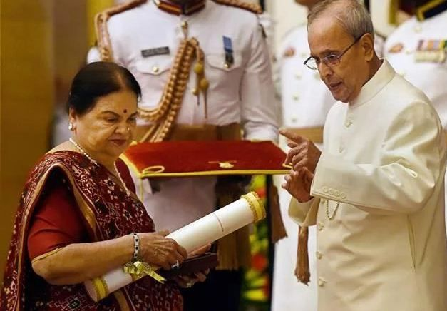 Kokilaben Ambani receiving Padma Vibhushan award conferred on her husband