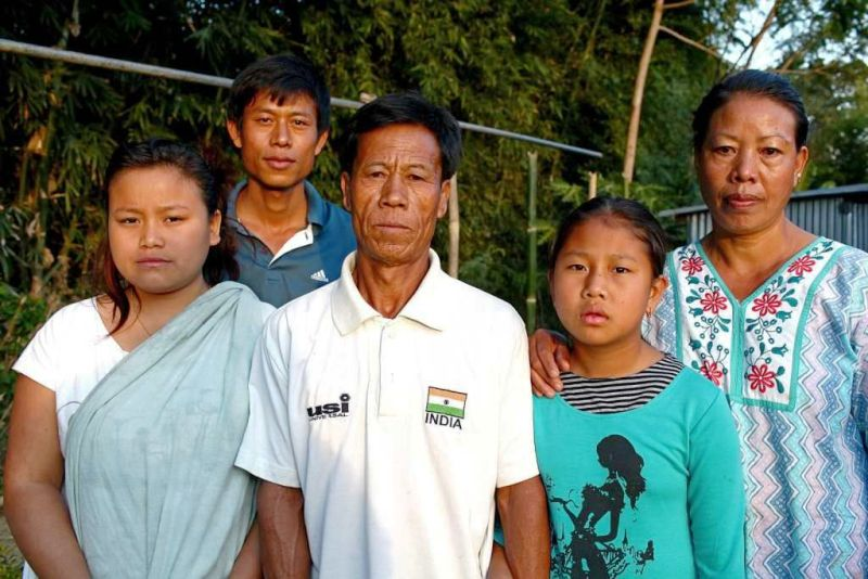 Mary Kom's (From Left to Right) Sister-in-law, Brother Khupreng, Father Tonpa, Little Sister Cindy and Mother Akham