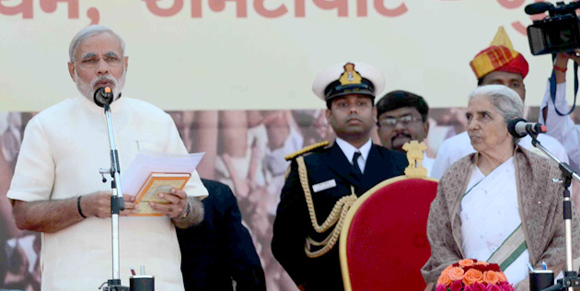 Narendra Modi taking oath as the CM of Gujarat