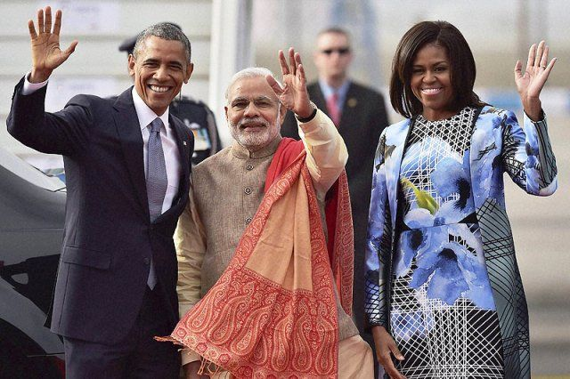 Narendra Modi with Barack and Michelle Obama