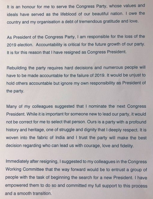 Rahul Gandhi's Resignation Letter As Congress Chief