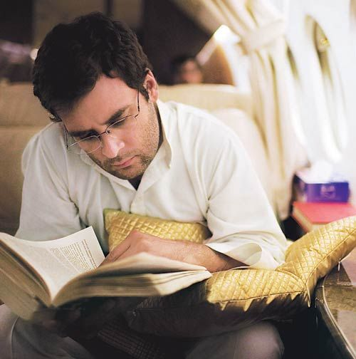 Rahul Gandhi reading a book