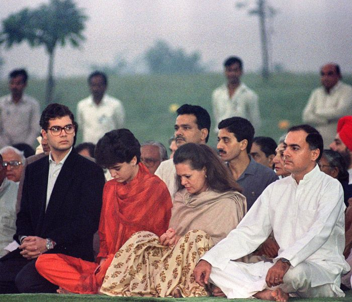 Rahul Gandhi with his parents