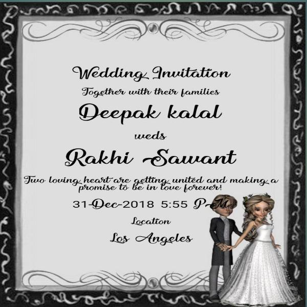 Rakhi Sawant and Deepak Kalal Wedding Invitation