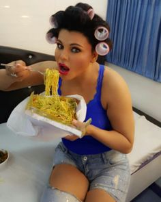Rakhi Sawant enjoying food