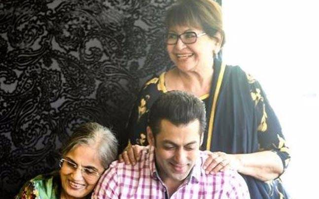 Salman Khan with his mother Salma (L) and step-mother Helen
