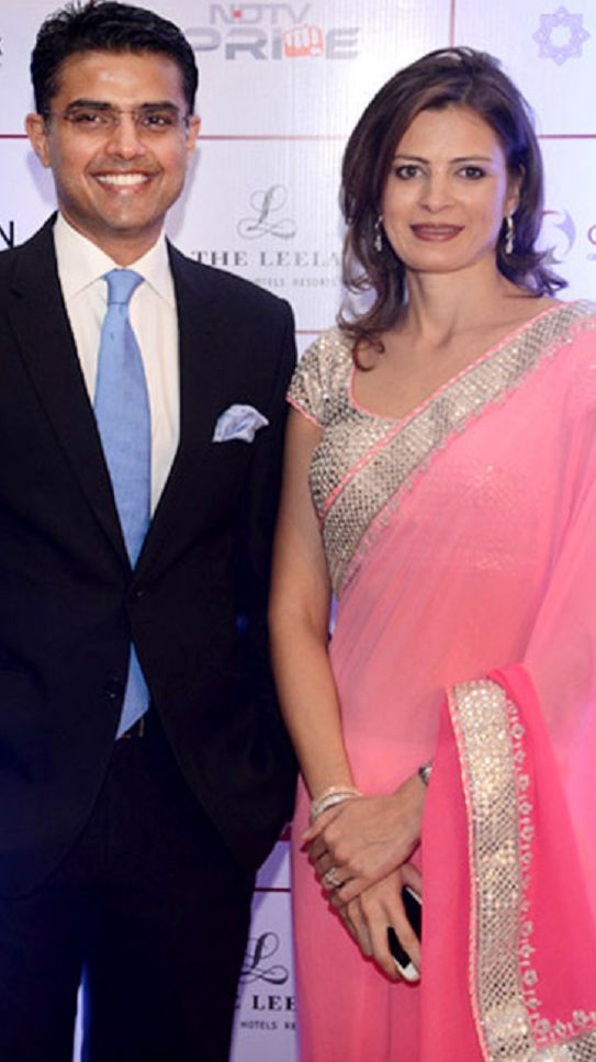Sarah Pilot with her husband Sachin Pilot