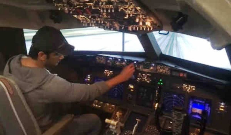 Sushant Singh Rajput in His Boeing 737 Fixed Base Flight Simulator