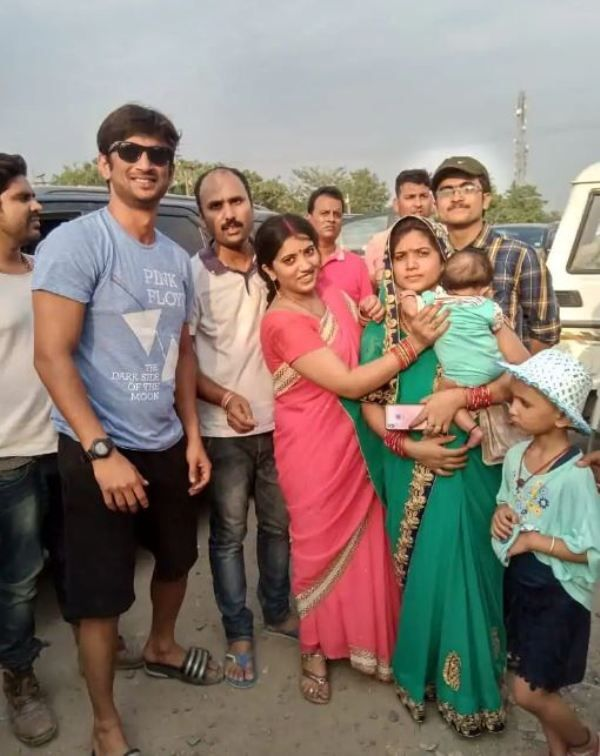 Sushant Singh Rajput with his family members at his village in Bihar