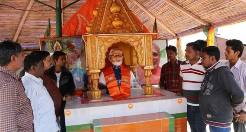 The temple built in Narendra Modi's honour in Kotharia village in Rajkot