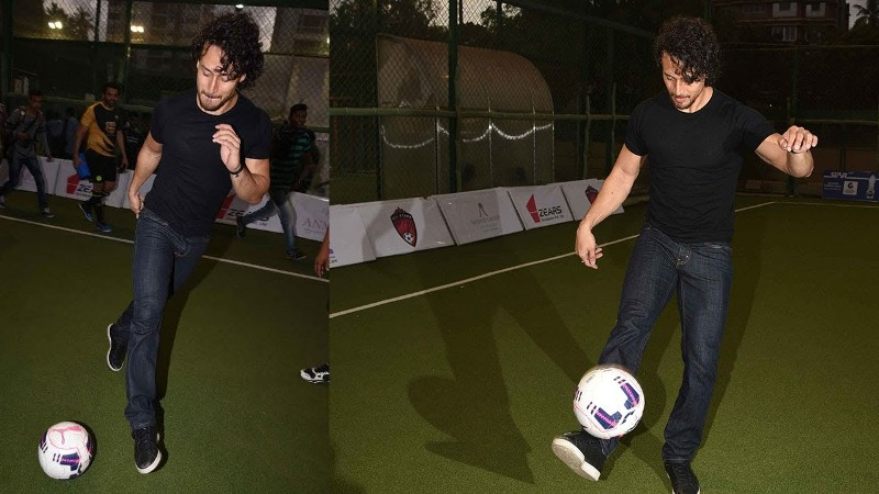 Tiger Shroff playing Football