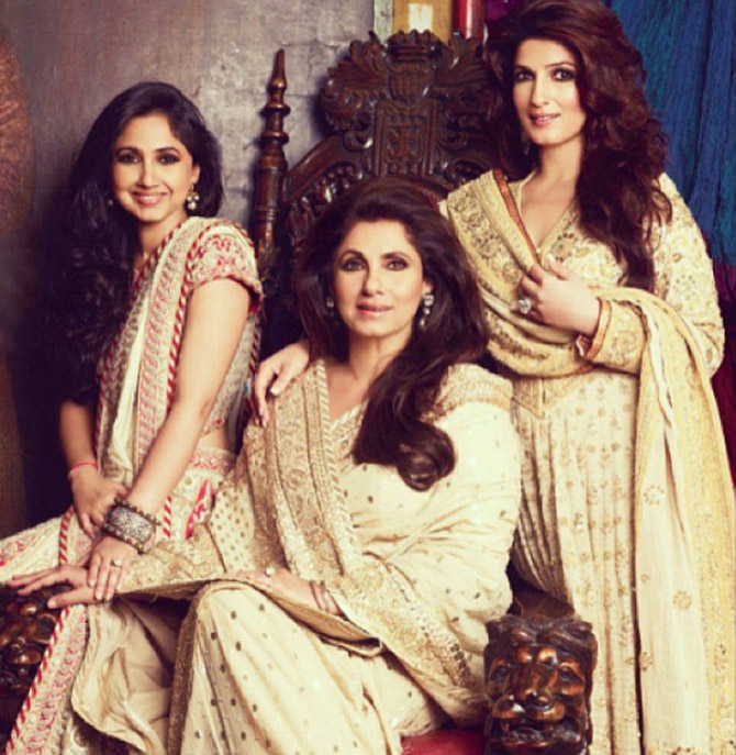 Twinkle Khanna with her sister and mother